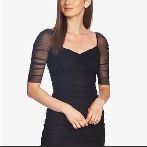 1.State Ruched Sleeve Mesh Black mini dress